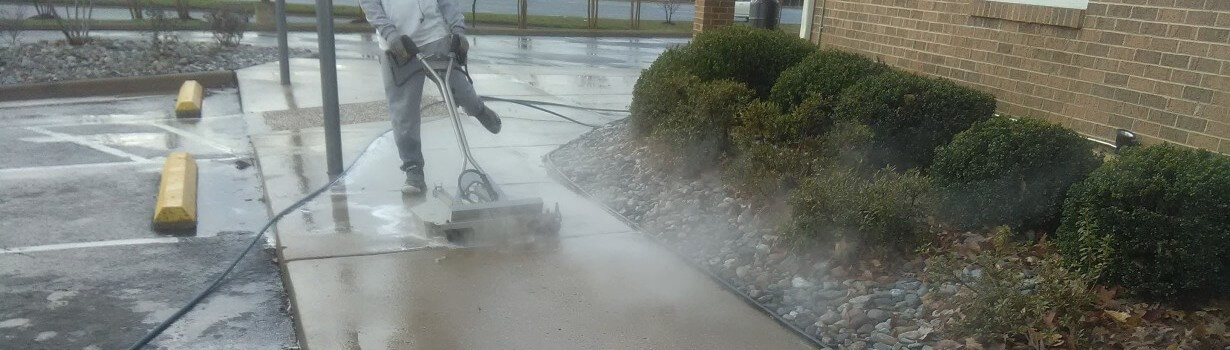 Sidewalk to business concrete cleaning